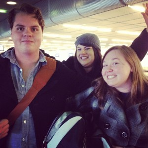 (L-R) Casey Holder, Bianca Montes and Natalie Webster take the train from the airport to downtown Chicago for the CMA Chicago conference in 2012.